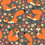 Little cute squirrels on flowers meadow. Seamless spring or summer pattern for gift wrapping, wallpaper, childrens room Royalty Free Stock Photo