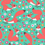 Little cute squirrels on flowers meadow. Seamless spring or summer pattern for gift wrapping, wallpaper, childrens room Stock Photos