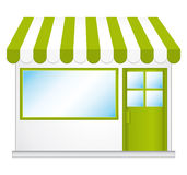 Little cute store. Little cute store with green awnings