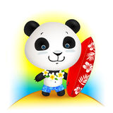 Little cute surfer panda, vector illustration Royalty Free Stock Photography