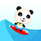 Little cute surfing panda on blue wave Royalty Free Stock Photos
