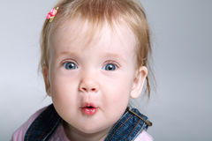 Little cute surprised girl Stock Photography