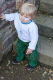 Little cute toddler boy with blond hairs Royalty Free Stock Photography