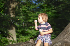 Little cute toddler boy playing with soap bubbles in  forest Stock Photos