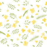 Little Cute Watercolor Flowers and Leaf seamless pattern. Stock Photo