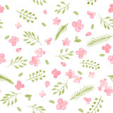 Little Cute Watercolor Flowers and Leaf seamless pattern. Royalty Free Stock Photo