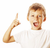 Little cute white boy pointing in studio isolated Stock Photo