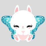 Little cute white bunny with blue butterfly wings. Romantic character. Greeting card. Beautiful sticker. Royalty Free Stock Photography