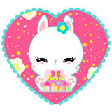 Little cute white bunny with a cake in heart. Magic world. Birthday. Greeting card. Childrens poster. Valentines day. Royalty Free Stock Photo