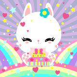 Little cute white bunny with a cake on rainbow. Magic world. Birthday. Greeting card. Childrens poster. Stock Photography