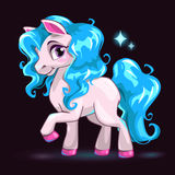 Little cute white cartoon horse Royalty Free Stock Image