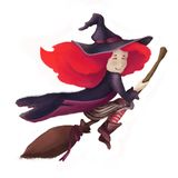 A little cute witch on a broomstick. A girl with red hair and a hat. isolated on a fringe background stock illustration