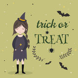 Little cute witch. Halloween poster  background  card. Stock Photos