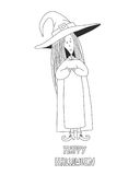 Little cute witch. Halloween poster. Stock Photos