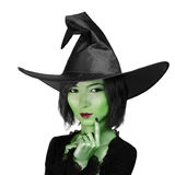 Little cute witch woman stock photos