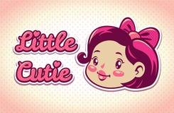 Little cutie illustration. Little cutie  logo elements, cute girls vintage illustration, childish template for tshirt design Royalty Free Stock Photos