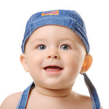 Little Cutie taken closeup. Portrait of small boy wearing blue bandana. Isolated Royalty Free Stock Photo