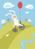 Little Cyclist. In Bunny Costume Stock Illustration