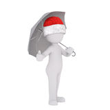 Little 3D character in santa hat and umbrella Royalty Free Stock Photography