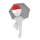 Little 3D character in santa hat and umbrella Royalty Free Stock Photos