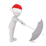 Little 3D character in santa hat and umbrella Stock Photos