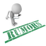 Rumors check. Little 3d man checking out rumors with a magnifying glass, white background Royalty Free Stock Photography