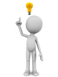 Idea. A little 3d man getting a bright idea about a problem or a business situation raising his finger to share the idea with a yellow bulb on his head, white Stock Photos