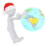 Little 3d man having fun spinning a globe Royalty Free Stock Photos