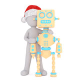 Little 3d man with his robot friend Royalty Free Stock Images