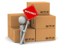 Moving. Little 3d man holding banner asking if you need help to move, with packing cardboard boxes in the background vector illustration