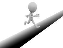 Jump over crack. Little 3d man jumping over crack or gap on ground, concept of spirit of undertaking risk and be brave to put in that effort of an entrepreneur stock illustration