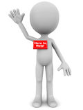 Here to help. A little 3d man with name plate here to help in red waving his hand in a positive helpful attitude Royalty Free Stock Image