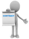 Contract. Little 3d man offering to sign a contract, on a roll of paper, white background, concept of signing up for a service of product via contract with the vector illustration