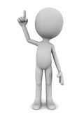 Raise finger. Little 3d man raising his right hand finger in voluntary or idea concept, white background Royalty Free Stock Images