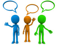 Speaking men. Little 3d men talking with speak boxes, colored figures in blue orange and green on white background royalty free illustration