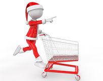 A little 3d santa with his shopping cart Royalty Free Stock Image