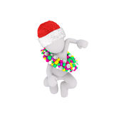 Little 3D skating figure in red santa hat Royalty Free Stock Images
