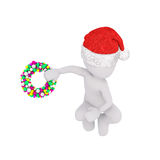Little 3D skating figure in red santa hat Stock Images