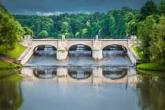 The little dam of Tsaritsyno public park in Moscow, Russia. royalty free stock photo