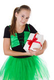 Little dancer in green tutu with present box Stock Photos