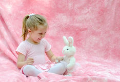 Little dancer with her ballerina bunny Royalty Free Stock Photography