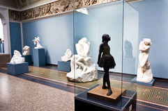 Little dancer statue by Edgar Degas. On display in museum stock images