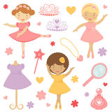 Little dancing ballerinas collection Royalty Free Stock Photography