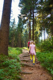 Little daughter with her father walking in forest Stock Photos