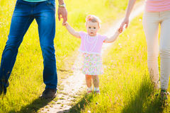 Little daughter holding hands of mom and dad. Portrait of happy Royalty Free Stock Image
