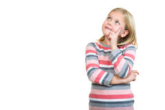 Free Little Daydreamer. Cheerful Little Girl Holding Finger On Chin And Looking Away Royalty Free Stock Photo - 83174225