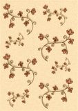 Little Decorative Flowers. An imaginary flower design hand drawn, scanned and digitally altered with added color and texture. Colors: light red brown stock illustration