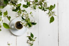 Little delicate elegant bouquet of spring flowers and a teacup on white wooden table, morning breakfast royalty free stock photos