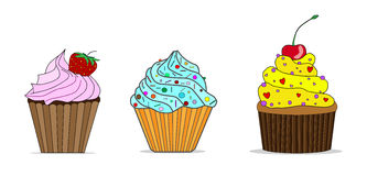 Little delicious cupcakes  set.  Stock Images