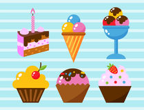 Little delicious cupcakes sweet dessert celebration birthday party food cream sprinkles frosting snack vector Royalty Free Stock Photos